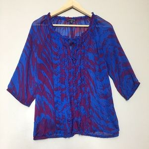Express Purple Blue Printed Cocktail Evening Top